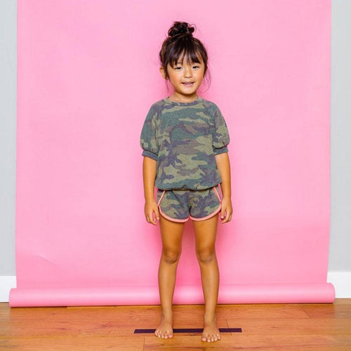 Joah love olive green camouflage girls short sleet tee
