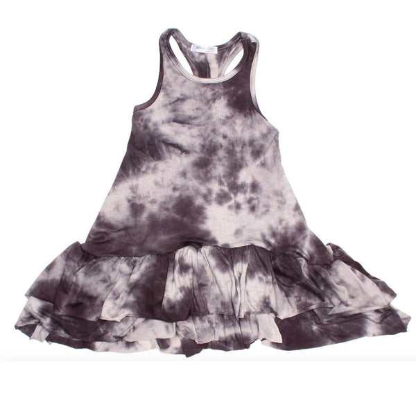Joah love grey tie dye sleeveless girls dress with ruffle tier hem