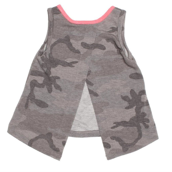 Joah love grey camouflage girls sleeveless top