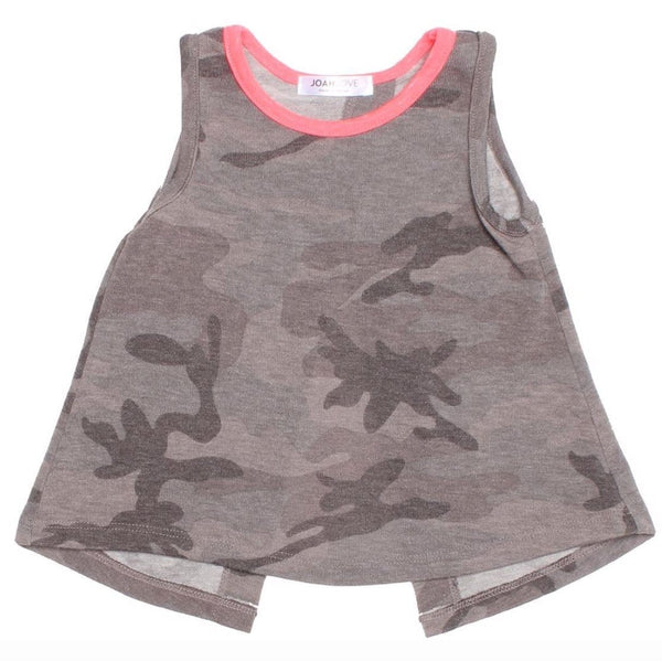 Joah love grey camouflage girls tank top