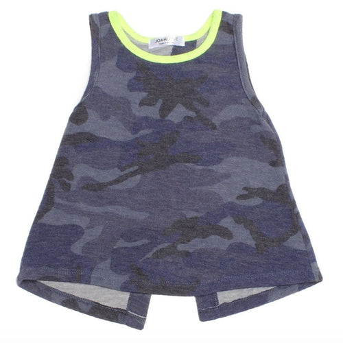 Joah Love blue camouflage girls tank top