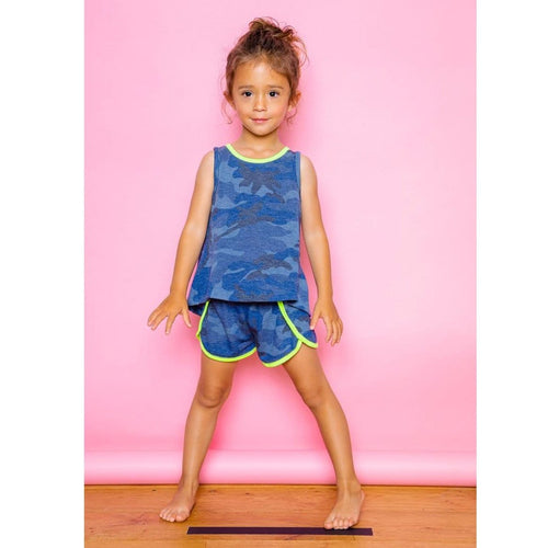 Joah Love knit blue camouflage girls tank top