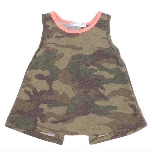 Joah Love olive camouflage girls tank top