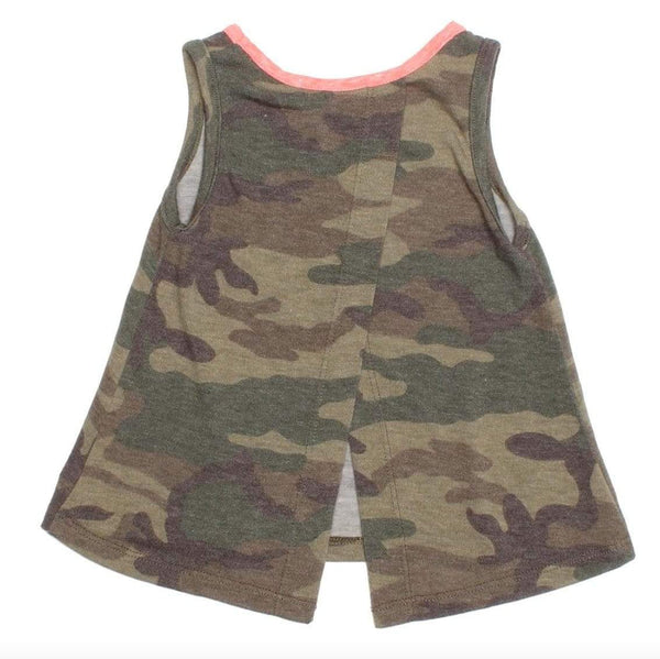 Joah Love olive camouflage girls top