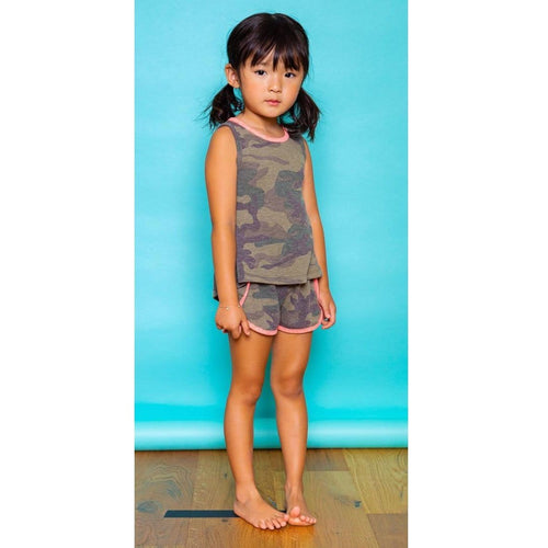 Joah Love olive camouflage girls sleeveless top