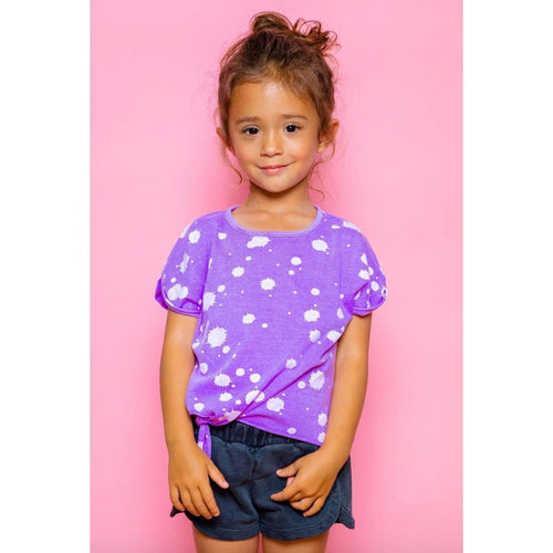 Joah love purple short sleeve tie front girls top