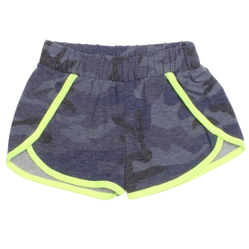 Joah love blue camo girls shorts with neon yellow trim