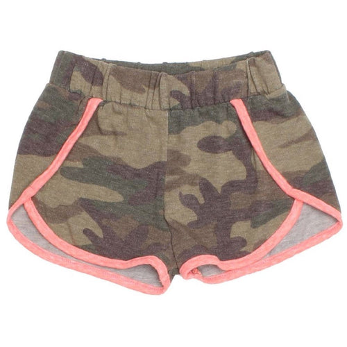 Joah love olive camo knit girls shorts