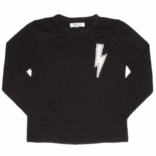 Joah Love black long sleeve boys t shirt with bolt graphic