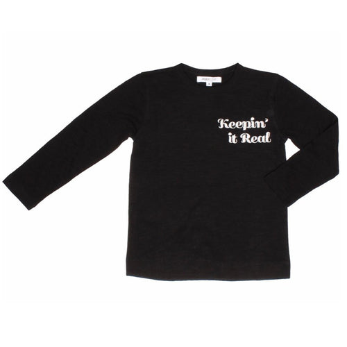 Joah Love long sleeve black keepin it real boys graphic tee