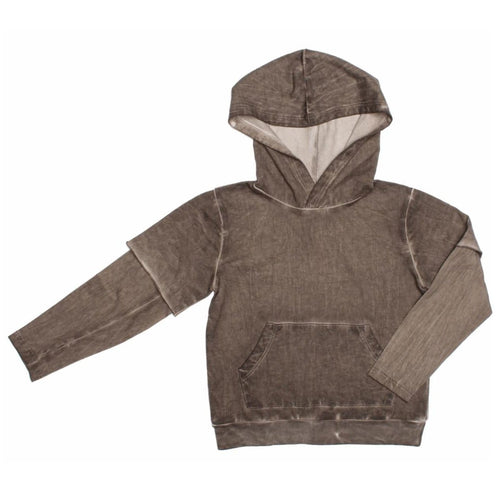Joah Love brown layered boys hoodie