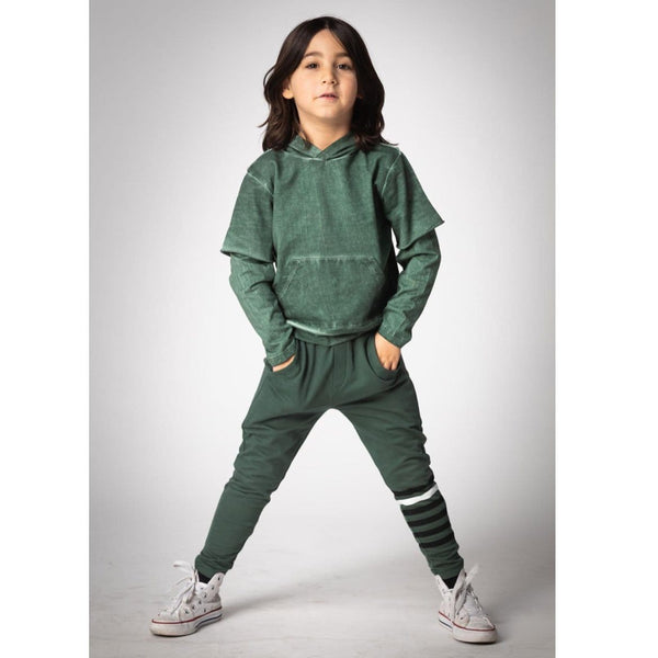 Joah Love green distressed layered boys hoodie
