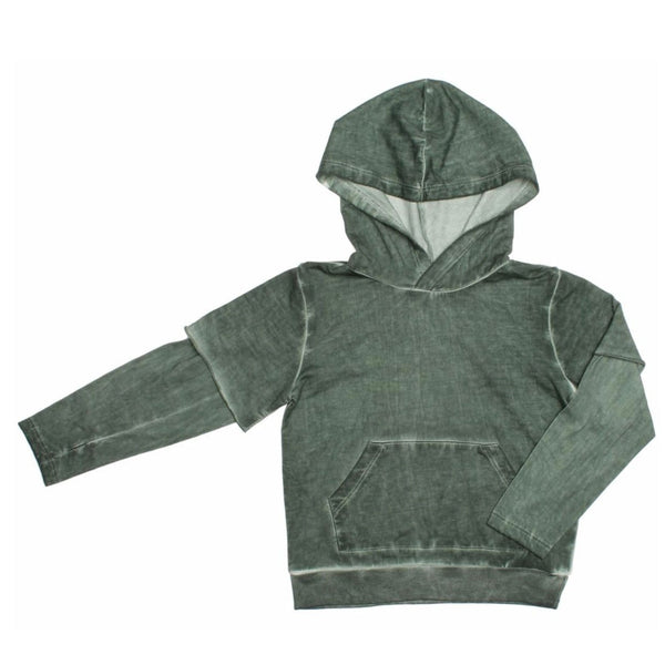 Joah Love green layered boys hoodie