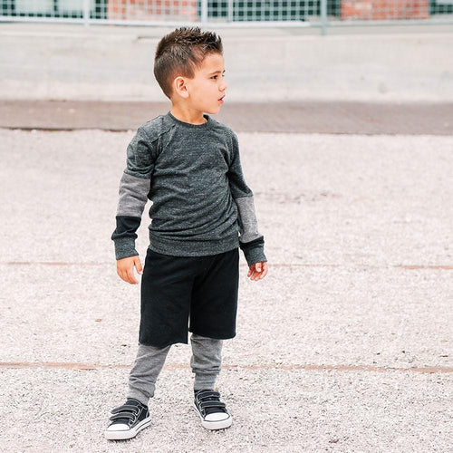 Black boys pants with layered shorts by Joah Love