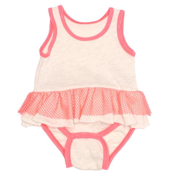 Joah love cream and pink baby girl romper