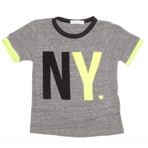 Joah love grey short sleeve new york kids short sleeve tee