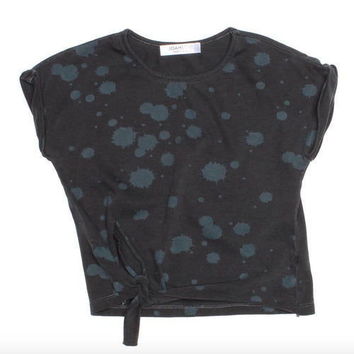 Joah love black short sleeve splatter girls tee