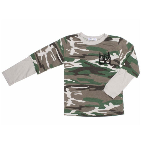Joah Love layered long sleeve camo boys tee