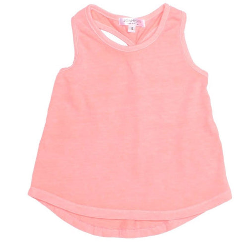 Joah love coral knit girls tank top