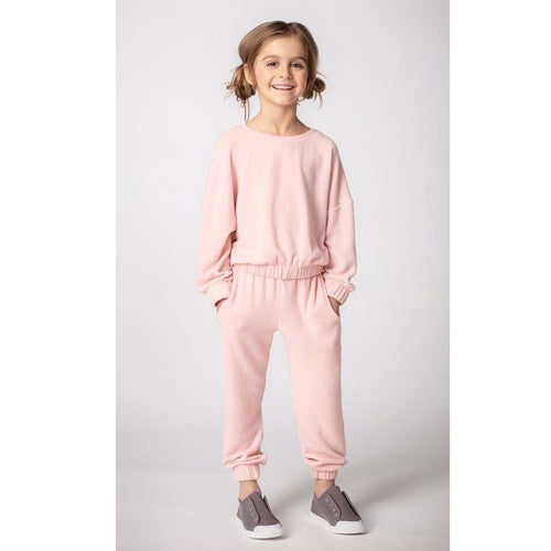 Joah Love light pink faux cashmere girls sweatpants