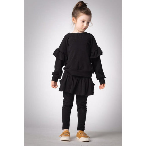 Joah Love black ruffle shoulder girls sweatshirt