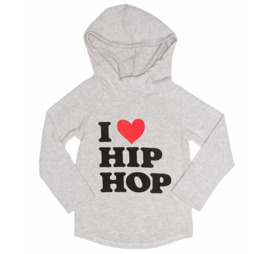 Joah Love heather grey i love hip hop girls hoodie