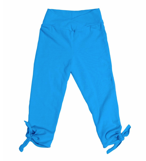 Girls aqua blue tie capri leggings