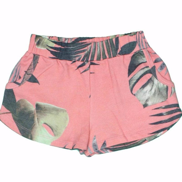 Coral palm leaf printed girls shorts