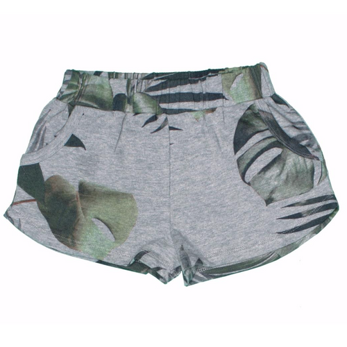 Girls grey knit palm tree shorts
