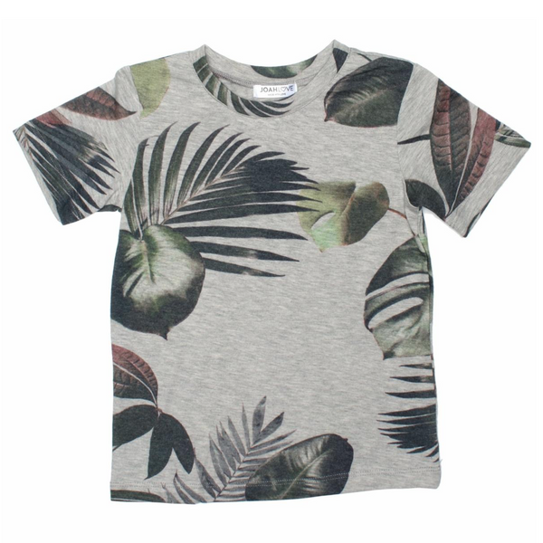 Palm print heather grey boys tee