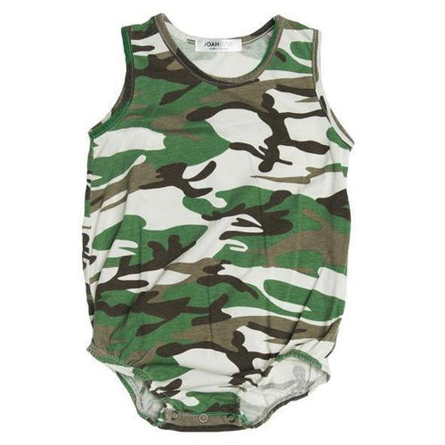Baby boy grey and green camo tank bubble romper