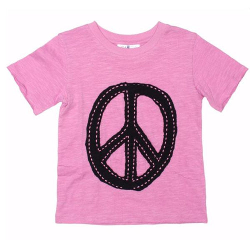 Pink peace sign short sleeve tee for girls