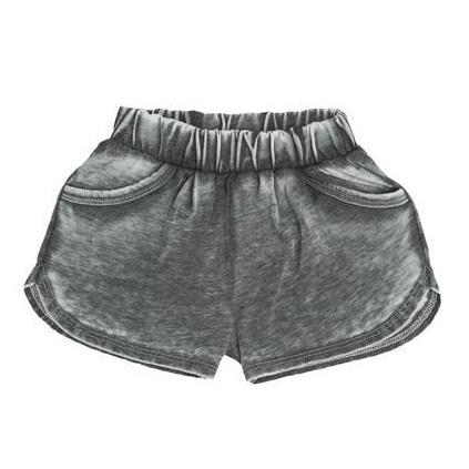 Girls grey distressed knit shorts