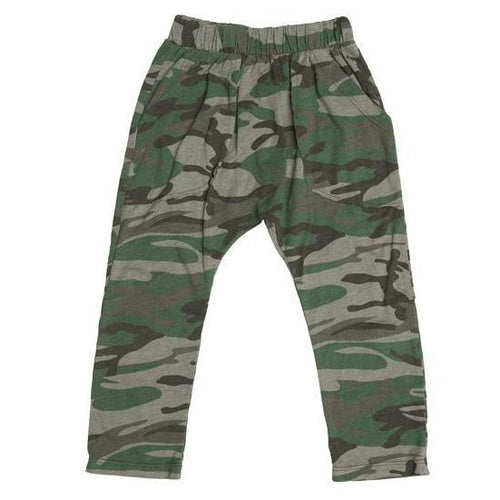 Boys green camo knit pants with elastic waist