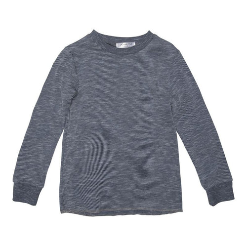 Joah Love Navy Ribbed Two Tone Long Sleeve Boys Tee