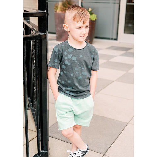 Joah love aqua and grey stripe knit boys shorts