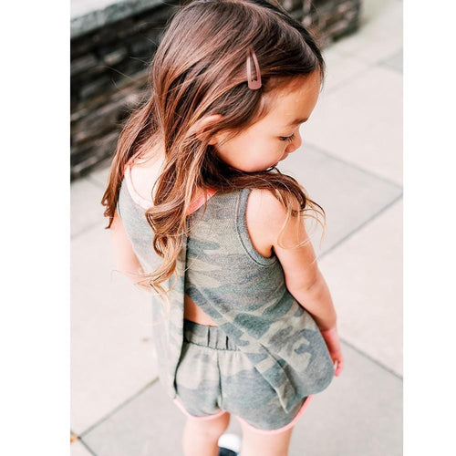 Joah love grey and pink camouflage girls tank top
