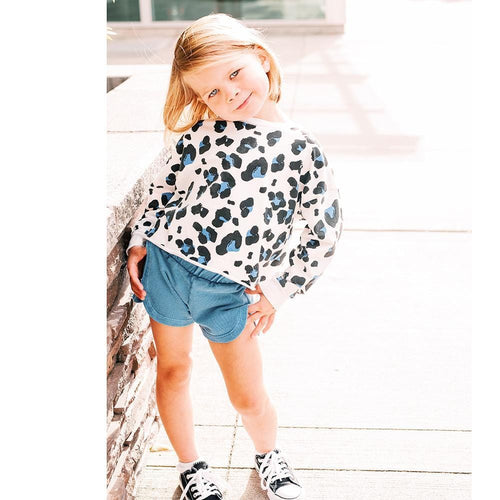 Joah love white cheetah print long sleeve girls sweatshirt