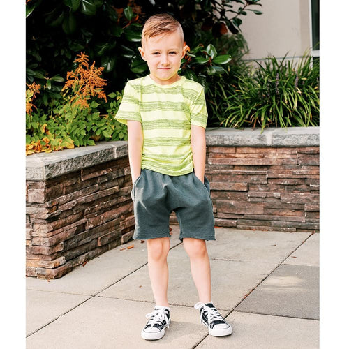 Joah love black baggy knit boys shorts with elastic waist
