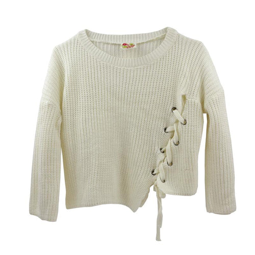 Girls ivory long sleeve sweater with lace up detail