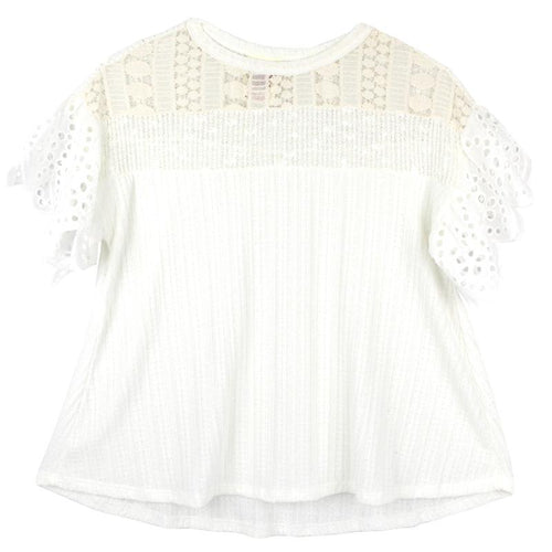 Kiddo Ivory Eyelet Sleeve Tween Girls Top