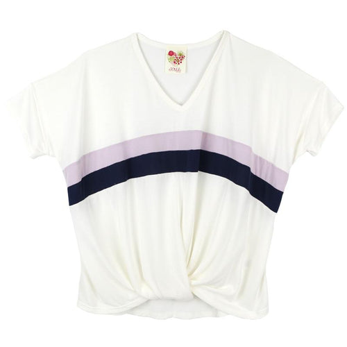 Slouchy tween tee with twist bottom and stripes