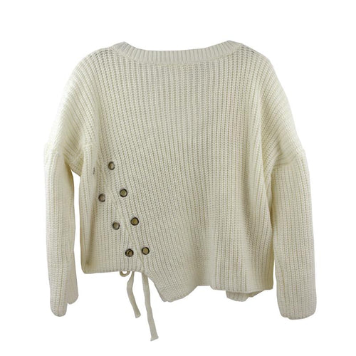 Girls lace up ivory sweater