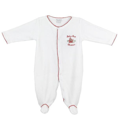 Baby first christmas white footed baby grow