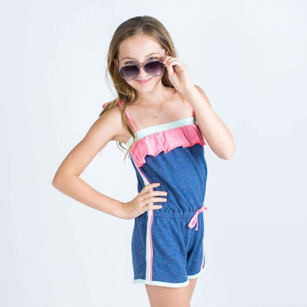 Navy sleeveless girls short romper with ruffle