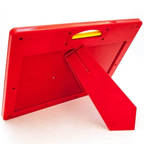 Red magnetic tablet drawing board for kids with stand