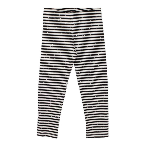 Girls black stripe leggings with stars
