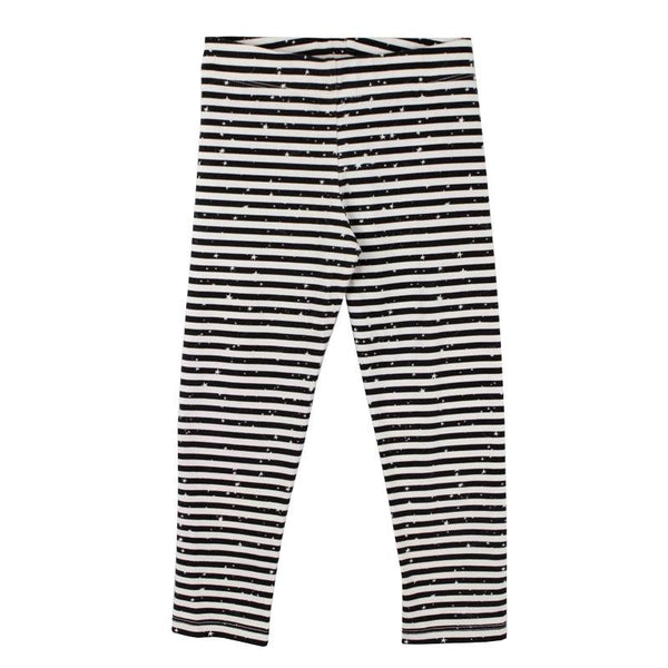 719fff5cf2c2a Girls Black Stripe Leggings with Stars