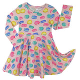 Girls long sleeve pink macaron print twirl dress
