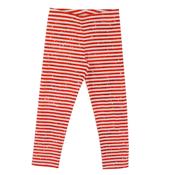 Girls red stripe star skinny leggings